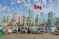 Skyline of Vancouver, view from Granville Iceland, national flag of Canada, Vancouver, British Columbia, Canada, North America