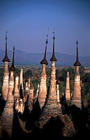 Indein, Shan State, Myanmar  Shwe Inn Thein Pagoda  Shwe Indein Pagoda  The ancient stupas of Indein, weather beaten and crumbling, are undiscovered a...