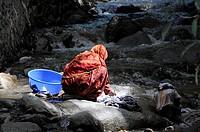 Hindi woman washing laundry in the river, Leh, Ladakh, North India, Himalaya