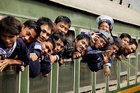 Vietnamese sailors in a train, Central Vietnam, Asia