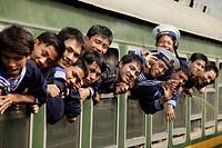 Vietnamese sailors in a train, Central Vietnam, Asia