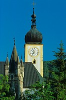 towers of Waidhofen Castle and parish church, Austria, Lower Austria, Waidhofen An Der Ybbs
