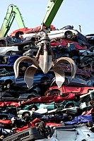 Old cars at a scrap yard