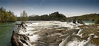 Panorama at the Rhine Falls of Schaffhausen, Switzerland, Europe
