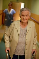 Nursing home, elderly woman with a nurse
