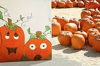 Pumpkins with painting of pumpkins