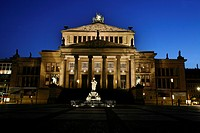 Schauspielhaus theatre at the Gendarmenmarkt square in twilight, Berlin, Germany, Europe