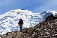 Hiker on Burroughs Mountain Trail, Mount Rainier, Mount Rainier Nationalpark, Washington, USA