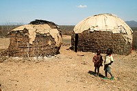 two huts in a turkan village, Kenya