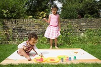 Children Painting in the garden