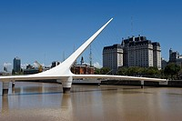 Calatrava Bridge in the Puerto Madero District, Buenos Aires City, South America