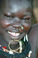 young Toposa woman with decoration scars, portrait, Sudan