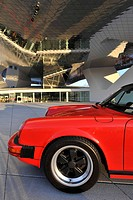 Porsche 911 Carrera Targa 3, 2 1988 in front of the Neues Porsche Museum, Zuffenhausen, Stuttgart, Baden-Wuerttemberg, Germany, Europe
