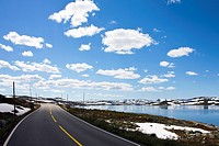 Mountain road at Hardangerjokulen, Norway, Europe