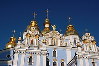 St. Michailow Monastry with entrance_tower and cathedral in Kiev city, Ukraine, Europe