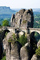 The Bastei sandstone formation, Elbe Sandstone Mountains, Saechsische Schweiz, Saxon Switzerland, Saxony, Germany