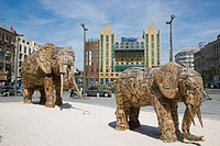 Elephant family sculpted by South African artist Andries Botha for Antwerp Zoo, Koningin Astridplein, Antwerp, Belgium