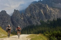 Male and female mountainbike riders west of the Vereiner Alm alpine pasture in the Karwendel Range, Mittenwald, Upper Bavaria, Bavaria, Germany, Europ...