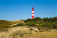 Lighthouse in the dunes, Amrum, North Frisia, Schleswig-Holstein, Germany