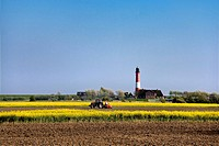 Tractor in front of a lighthouse, Pellworm, North Frisia, Schleswig-Holstein, Germany, Europe