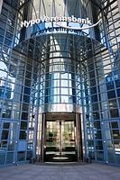 Entrance to the Hypo Vereinsbank bank building, Mainzerland Strasse street, Frankfurt, Hesse, Germany, Europe