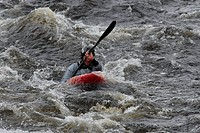 Kayaker at a white water race, Glen Etive River Race, Glen Etive, Scotland, Great Britain, Europe