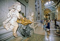 Marble putti, holy water stoup, central nave, St. Peter´s Basilica, Vatican City, Rome, Latium, Italy, Europe