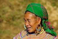Vietnamese woman with big earrings, Bac Ha, North Vietnam, Southeast Asia
