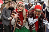 Witches, Mullerlaufen parade in Thaur, carnival tradition, Tyrol, Austria