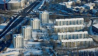 Aerial picture, Mitte multistory buildings Reschop, snow, Hattingen, Ruhr area, North Rhine-Westphalia, Germany, Europe