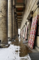 Portico in the snow, Haus der Kunst, House of Art, Munich, Bavaria, Germany, Europe