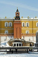 View of the Kremlin wall from the Alexander Garden side, Moscow, Russia
