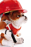 Bulldog figurine wearing a red construction helmet and holding a hammer