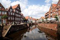 Half-timbered houses on Hansehafen harbour, Stade, Lower Saxony, Germany, Europe
