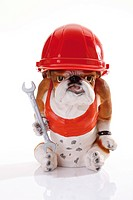 Bulldog figurine wearing a red construction helmet and holding a spanner