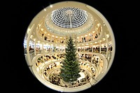 Interior shot, fisheye perspective, Breuninger department store, festive decoration, Stuttgart, Baden-Wuerttemberg, Germany, Europe