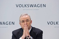 Professor Dr. Martin Winterkorn, Chairman of the Volkswagen Group, Volkswagen AG, during the financial statement press conference for the financial ye...
