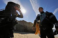 Scuba divers getting ready, Malibu, California, USA