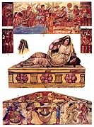 Historic illustration, Etruscan ornaments, Etruscan fresco paintings