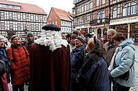 Guided tour at the market square in Wernigerode, tourists with the guide dressed in a historic costume and wig, Harz, Saxony-Anhalt, Germany, Europe