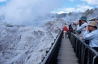 Tourists looking at Pohutu Geyser at Whakarewarewa Thermal Reserve
