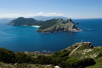Lighthouse and view towards an island off Illas Cies, Spain, Europe