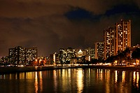 Skyline of Honolulu at night, at the Waikiki beach on on Oahu Island, Hawaii, USA