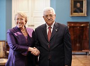 President of Chile Michelle Bachelet taking part in the welcoming ceremony to the President of the Palestinian National Authority Mahmoud Abbas , Sant...