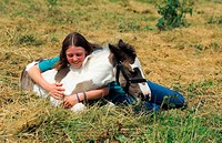 Tinker horse Equus przewalskii f. caballus, girl embracing foal