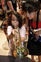 Florida, Miami, Adrienne Arsht Performing Arts Center, centre, Family Fest, Instrument Discovery, music, hands on, art, education, Hispanic, woman, gi...