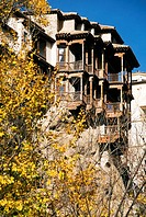 Hanging Houses on a rock above Huecar river gorge in autumn, Cuenca, Castilla-La Mancha, Spain