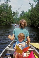 Roscommon, Michigan - Susan Newell and her daughter Mariel West, 3, on a canoe camping trip on the south branch of the Au Sable River