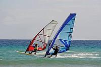 Windsurfers at the Playa de Sotavento de Jandia Beach, Fuerteventura, Canary Islands, Spain, Europe