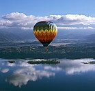 Aerial picture, hot_air balloon above Staffelsee Lake near Uffing, Murnau, Upper Bavaria, Germany, Europe
